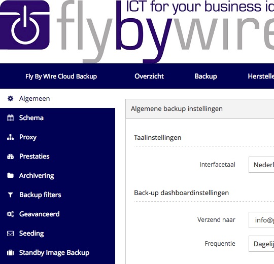Fly By Wire Cloud Backup gebruikersinterface