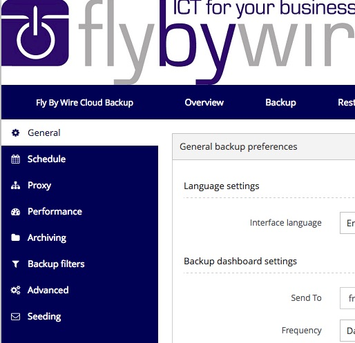 Fly By Wire Cloud Backup user interface