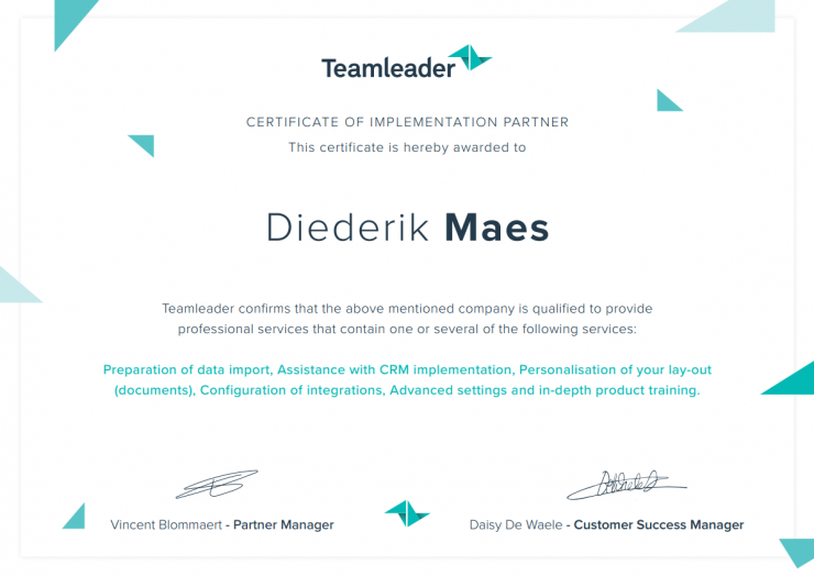 Teamleader Implementation Partner certificaat